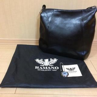 【新品】HAMANO 濱野 高級牛革 ショルダーバッグ 2way シンプル 黒