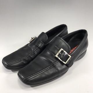 プラダ(PRADA)の正規品 PRADA プラダ スポーツ ブラック レザー ローファー 靴類(ローファー/革靴)