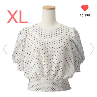 ジーユー(GU)のGU/ジーユー  ドットプリントブラウス XL ホワイト 白(シャツ/ブラウス(半袖/袖なし))