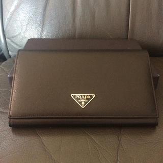 プラダ(PRADA)の新品未使用 プラダ サフィアーノ 長財布 ブラック 黒三角プレートミニウォレット(財布)