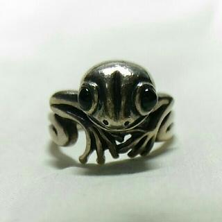 Garage カエル SILVER925 目はオニキス 指輪の内径約14mm(リング(指輪))
