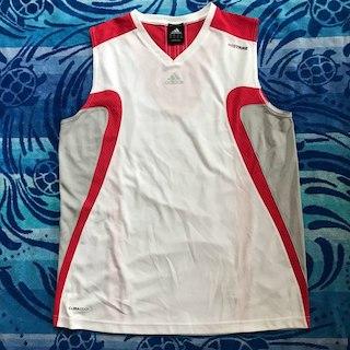 アディダス(adidas)の美品☆アディダス  クライマクール シャツ 赤×白×グレー L(その他)