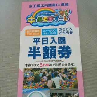東京あそびマーレ 平日入園半額券1枚(遊園地/テーマパーク)