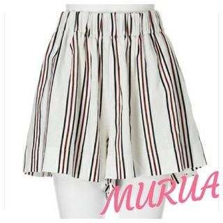 ムルーア(MURUA)の新品!MURUAキュロット ショーパン ストライプ ゴム楽々 シンプル ゆったり(ショートパンツ)