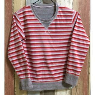 ビームス(BEAMS)のBEAMS mini ロングTシャツ ピンクボーダー 130㎝(Tシャツ/カットソー)