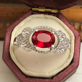 訳あり即購入OKレッドストーンアンティーク調シルバーカラーリング指輪大きいサイズ(リング(指輪))