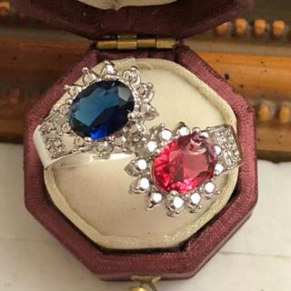訳あり即購入ルビーサファイアカラーシルバーリングゴージャス大振り大きいサイズ指輪(リング(指輪))