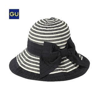 ジーユー(GU)のgu ボーダー つば広 帽子 折りたたみ可能 ハット(麦わら帽子/ストローハット)