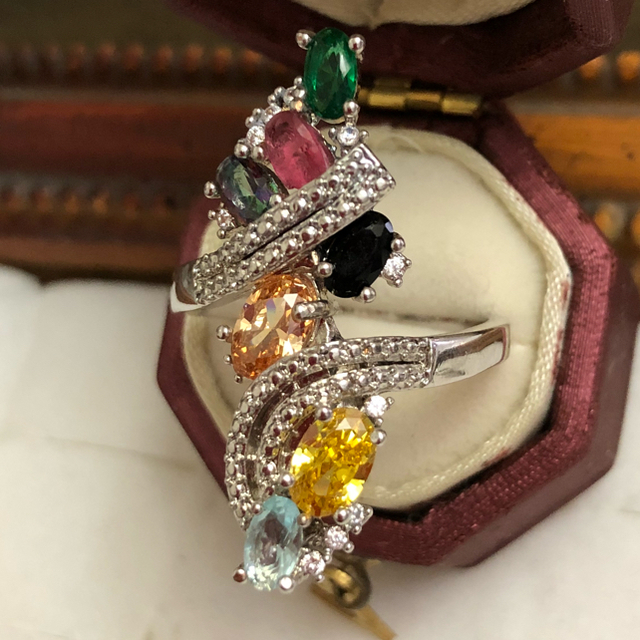 訳あり即購入OK高品質*ゴージャスマルチカラーシルバーリング指輪大きいサイズ レディースのアクセサリー(リング(指輪))の商品写真