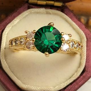 訳あり即購入OK✳︎グリーンミル打ちCZダイヤモンドゴールドリング指輪(リング(指輪))