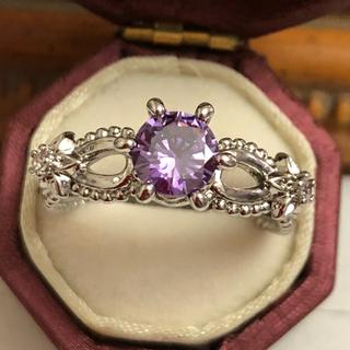 訳あり即購入OKパープルストーンのアメジストのようなミル打ちシルバーリング指輪(リング(指輪))