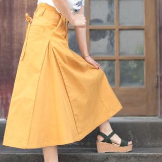 ミスティウーマン(mysty woman)のデニム編上げミモレスカート★イエローS(ひざ丈スカート)