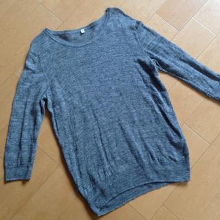 ムジルシリョウヒン(MUJI (無印良品))の無印良品 霜ふり グレー リネンセーターS 七分袖(ニット/セーター)