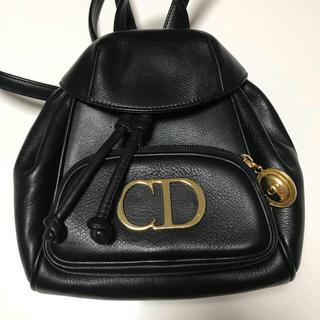 クリスチャンディオール(Christian Dior)のクリスチャン ディオール ♡ レザー ♡ リュック ♡ 黒(リュック/バックパック)