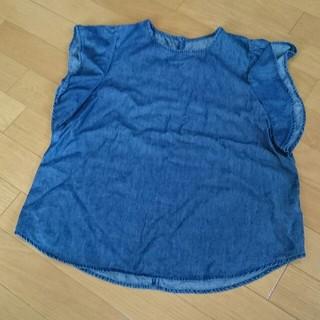 ジーユー(GU)の袖フリルシャツ美品ネイビーgu(シャツ/ブラウス(半袖/袖なし))