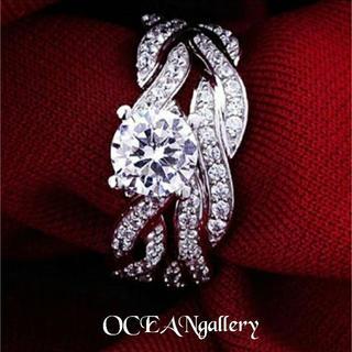 送料無料 10号 シルバー プラチナ加工 スーパーCZダイヤモンド リング 指輪(リング(指輪))