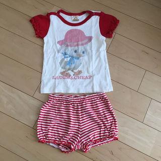 ラフアンドチープ(LAUGH & CHEAP)のラフ&チープ半袖Tシャツショートパンツ上下セット90㎝女の子日本製綿100%(その他)
