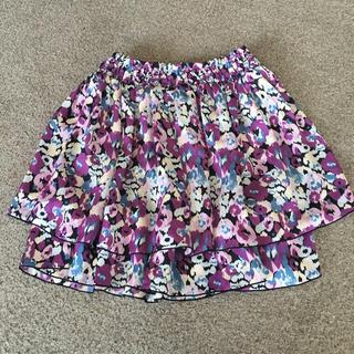 花柄のスカート 紫 パープル L(ミニスカート)