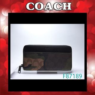 コーチ(COACH)の新品 COACH F87189 マホガニー×ダークグリーンカモフラージュ(財布)