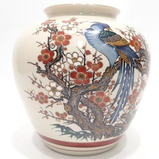 C256 美品 九谷焼 栄利作 梅 花瓶 壺(花瓶)