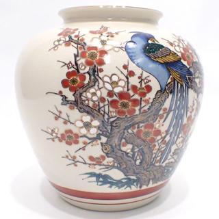 C257 美品 九谷焼 栄利作 梅 花瓶 壺(花瓶)