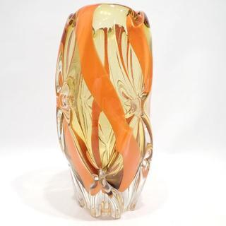 C259 昭和 レトロ 花瓶 ガラス オレンジ 花器 花入 フラワーベース 置物(花瓶)