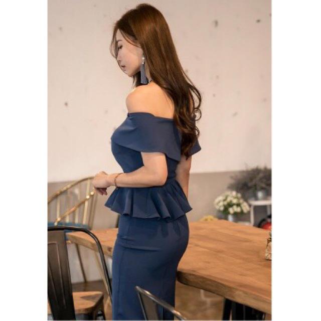 ブルー 青 オフショル ペプラム フリル ワンピース ドレス キャバドレス