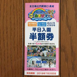 東京あそびマーレ 平日入園半額券(遊園地/テーマパーク)