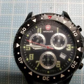 ウェンガー(Wenger)のロンサム6609様専用 WENGER ブラッククロノグラフ ジャンク(腕時計(アナログ))