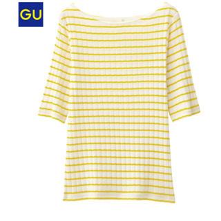 ジーユー(GU)の新品GUボーダーリブT五分袖 イエロー Mサイズ(Tシャツ(長袖/七分))