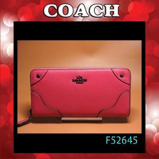 コーチ(COACH)のCOACH長財布 F52645 クランベリー ミッキー グレーン レザー(財布)