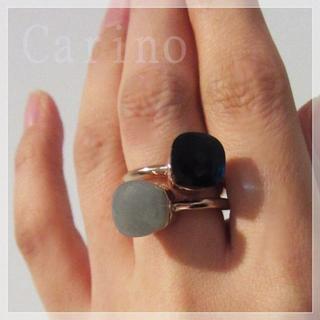 大粒 天然石 12号 キャンディ リング ゴールド ホワイト ブルー グレー(リング(指輪))
