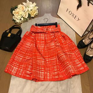 プラダ(PRADA)のプラダ チェックのシルクスカート 1回短時間着用(ひざ丈スカート)