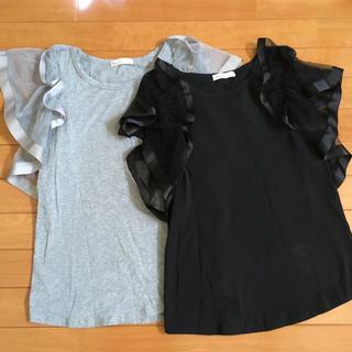 スリーフォータイム(ThreeFourTime)のスリーフォータイム  袖チュール カットソー Tシャツ プルオーバー(カットソー(半袖/袖なし))