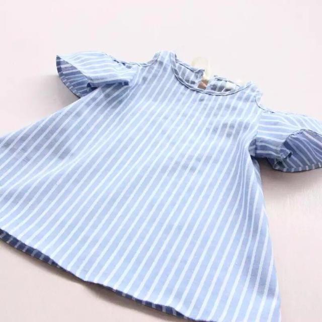 ストライプ ノースリーブ ワンピース 130 キッズ/ベビー/マタニティのキッズ服 女の子用(90cm~)(ワンピース)の商品写真