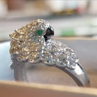 オウム 指輪 ホワイトトパーズ 8.6ct シルバー925 サイズ15号(リング(指輪))