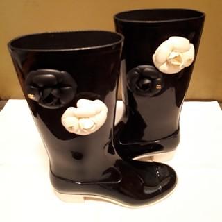 シャネル(CHANEL)のシャネルレインブーツ37保存袋つき(レインブーツ/長靴)