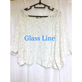 グラスライン(Glass Line)のGlass Line グラスライン レースカットソー ブラウス ホワイト 白(シャツ/ブラウス(長袖/七分))