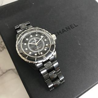 シャネル(CHANEL)の美品 シャネル J12 黒セラ 自動巻き ダイヤ12P (腕時計(アナログ))