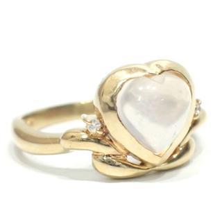 E89 中古 K18 ミルキークォーツ ダイヤ 0.02ct 指輪 YG 12号(ネックレス)