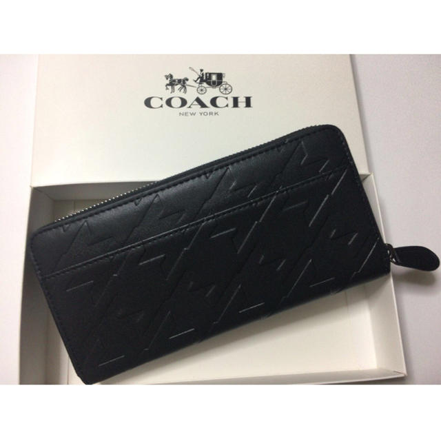 purchase cheap 99163 0acf7 〜5/20限定価格★コーチ 千鳥格子 エンボスレザー長財布 74881 ブラック