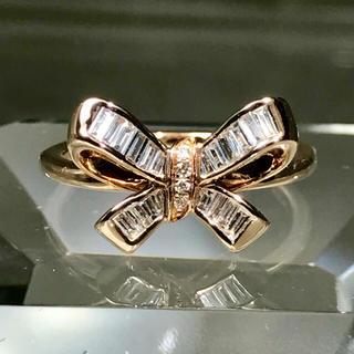 リボン リング k18  ピンクゴールド バケット ダイヤモンド ☆22万円(リング(指輪))