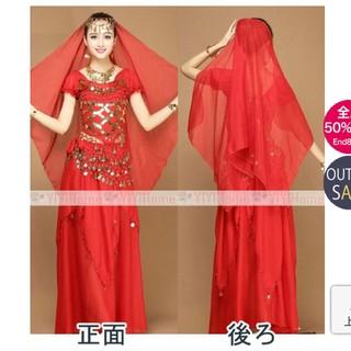 ベリーダンス衣装 セットコスチューム 赤(衣装一式)