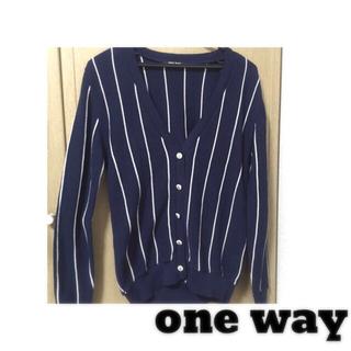 ワンウェイ(one*way)のoneway ストライプカーディガン(カーディガン)