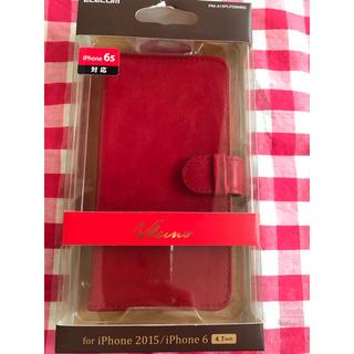 エレコム(ELECOM)のエレコム製☆iPhone6s/iPhone6☆ソフトレザー☆ボタン式☆レッド(iPhoneケース)
