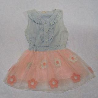 お花刺繍スカートのワンピース(ピンク)(ワンピース)