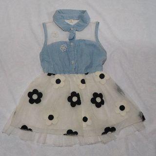 お花刺繍スカートのワンピース(白)(ワンピース)