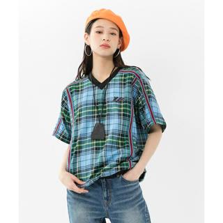 エックスガール(X-girl)のPLAID V-NECK S/S TOP(Tシャツ(半袖/袖なし))
