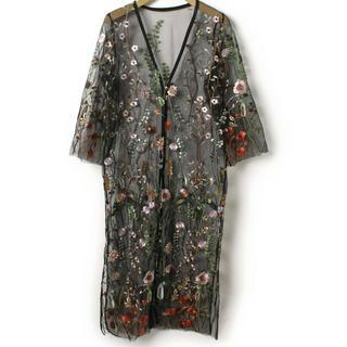 ディスコート(Discoat)のディスコート  オーガンジー刺繍 シースルー ガウン(カーディガン)