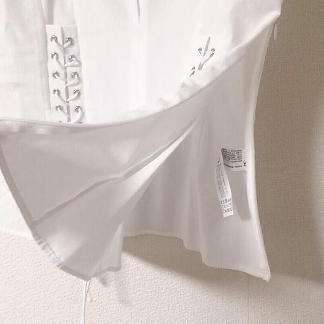 ZARA(ザラ)の★新品未使用 ZARA ダブルコルセット ブラウス ホワイト リボン レディースのトップス(シャツ/ブラウス(半袖/袖なし))の商品写真